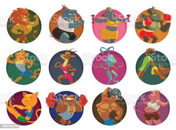 Set of twelve round frames funny animals in the gym vector id889466348?b=1&k=6&m=889466348&s=612x612&h=uedgklrojttnzl1gcxtb8nr2shiwvuolyet4oxmoja8=