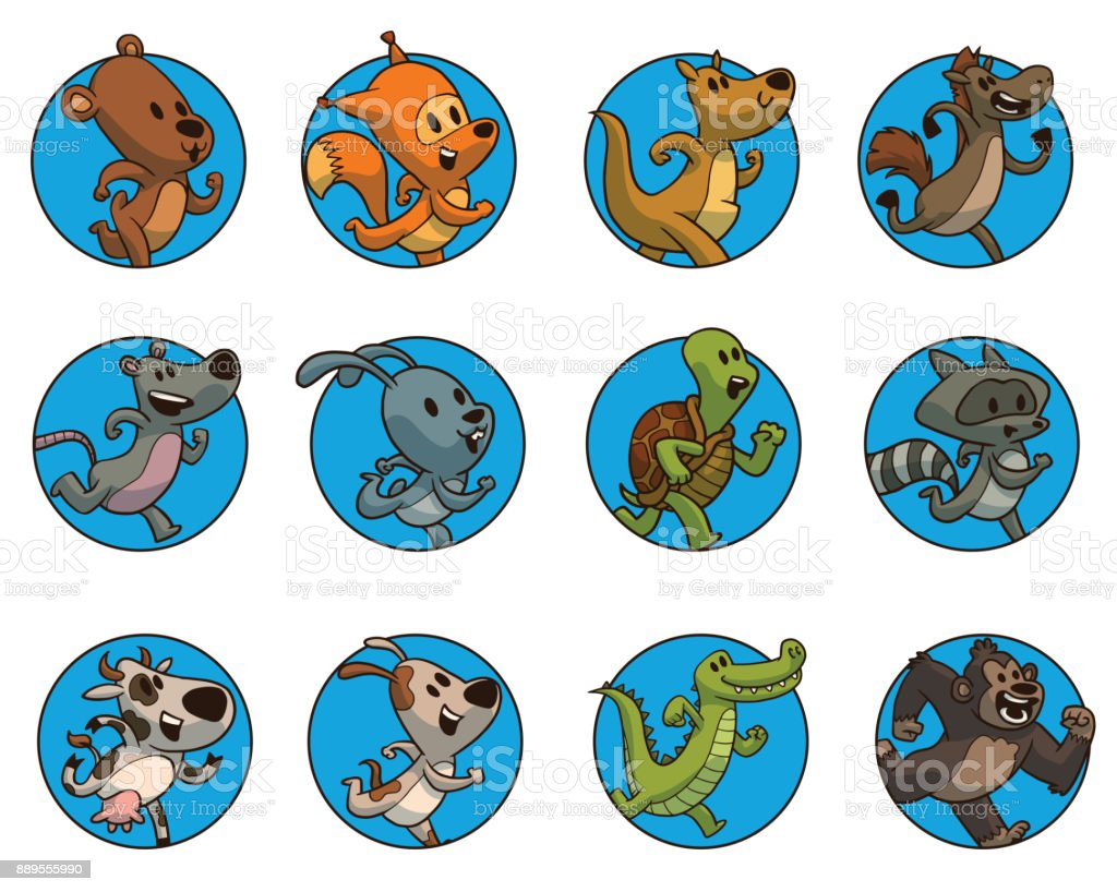Set Of Twelve Round Frames With Running Animals Color Image Stock ...