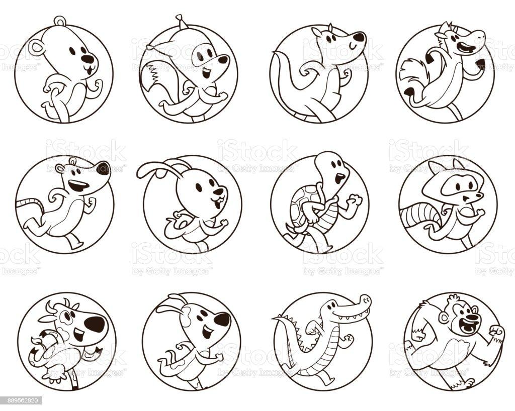 Vector set of round frames with cute running animals: bear, fox ...