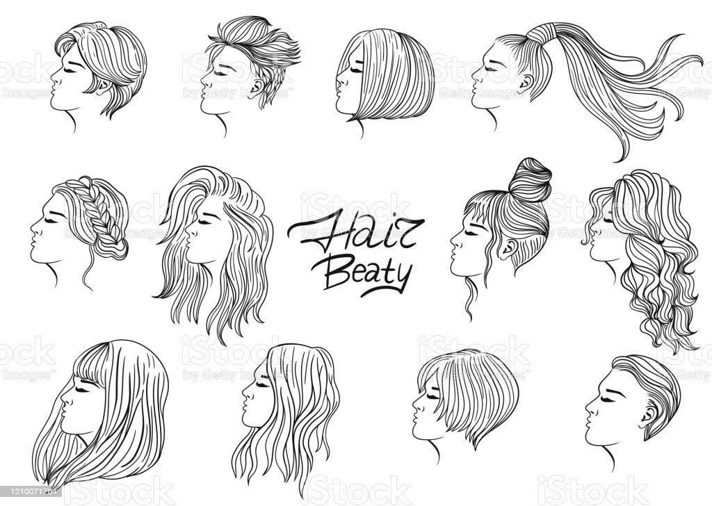 A set of twelve women's haircuts and hairstyles. Black outline on a white background. Vector graphics. A set of twelve women's haircuts and hairstyles. Black outline on a white background. Vector graphics. Bangs - Hair stock vector