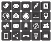 Set of twenty black and white media communications icons