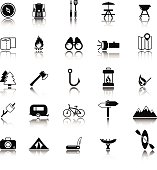A set of twenty five camping icons