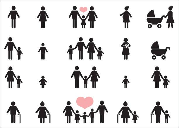 ilustraciones, imágenes clip art, dibujos animados e iconos de stock de set de 20 iconos de personas. - hija