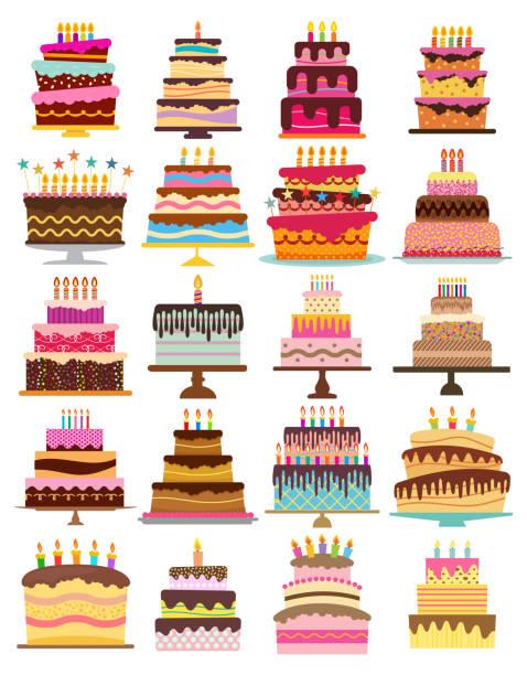 zestaw dwudziestu słodkich tortów urodzinowych z płonącymi świecami - ciasto stock illustrations