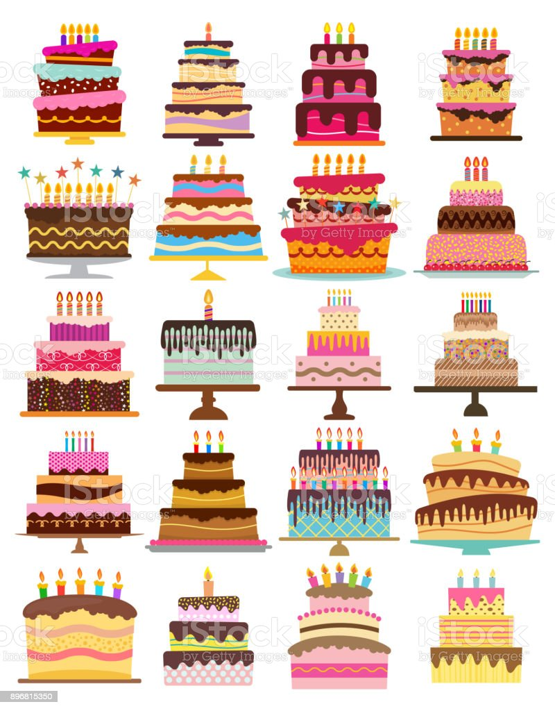 Set of twenty sweet birthday cakes with burning candles vector art illustration