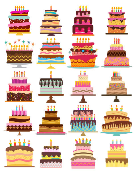set of twenty sweet birthday cakes with burning candles - happy birthday cake stock illustrations, clip art, cartoons, & icons