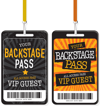 Set of two Black and yellow Backstage Pass template designs