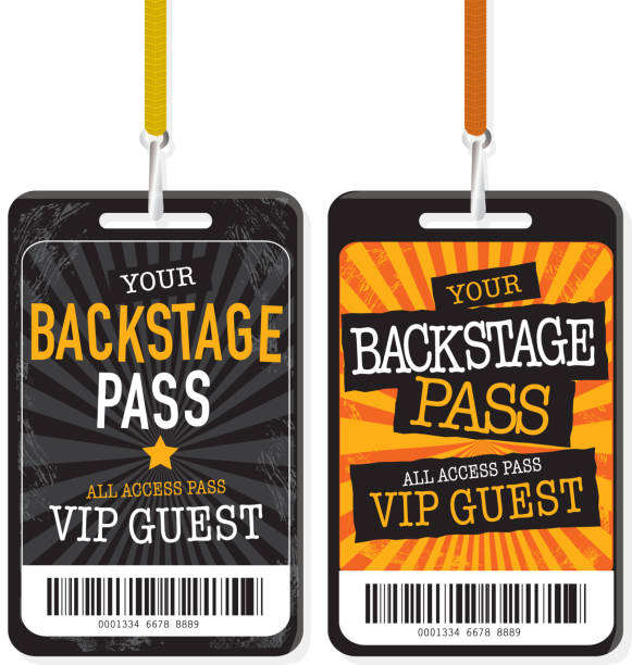 Set of two Black and yellow Backstage Pass template designs Vector illustration of a two Backstage Pass designs. Includes sample text design and design elements.  security pass stock illustrations
