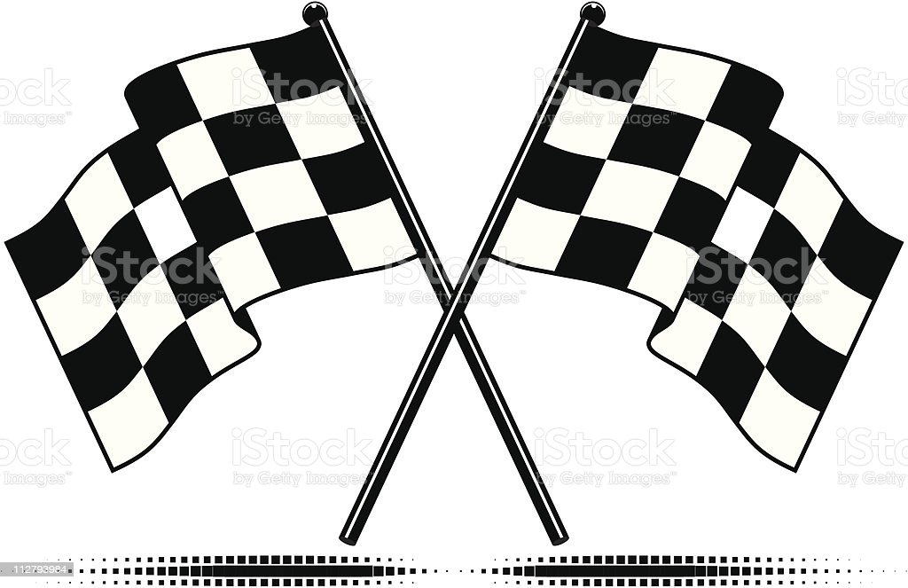A set of two checkered black and white flags vector art illustration