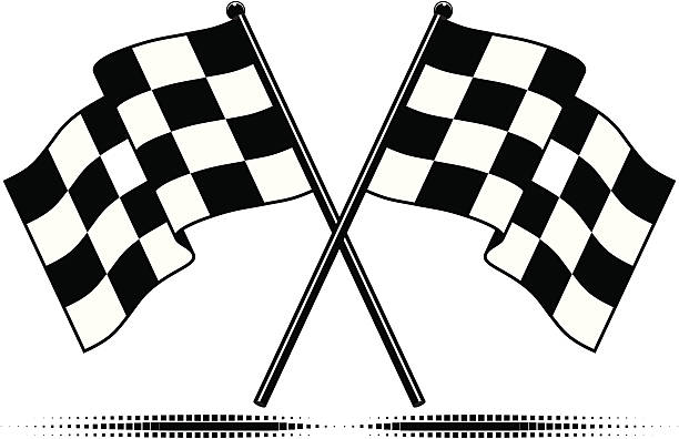 A set of two checkered black and white flags Two crossed checkered flags with optional square halftone ground shadow.  Black and white, gradient free design.  Zip folder contains additional artwork of similar single checkered flags as EPS and JPG. indy racing league indycar series stock illustrations