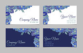 Set of two double-sided floral blue vintage business cards with hand drawn flowers. Light and dark color variations