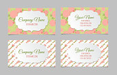 Set of two double-sided floral vintage business cards with hand drawn flowers