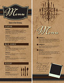 Vector illustration of a set of two elegant menu design templates. Includes vintage and retro looking sample text and design elements such as chandelier silhouette, cutlery and picture frame. Download includes Illustrator 8 eps, high resolution jpg and png file. See my portfolio for similar designs.