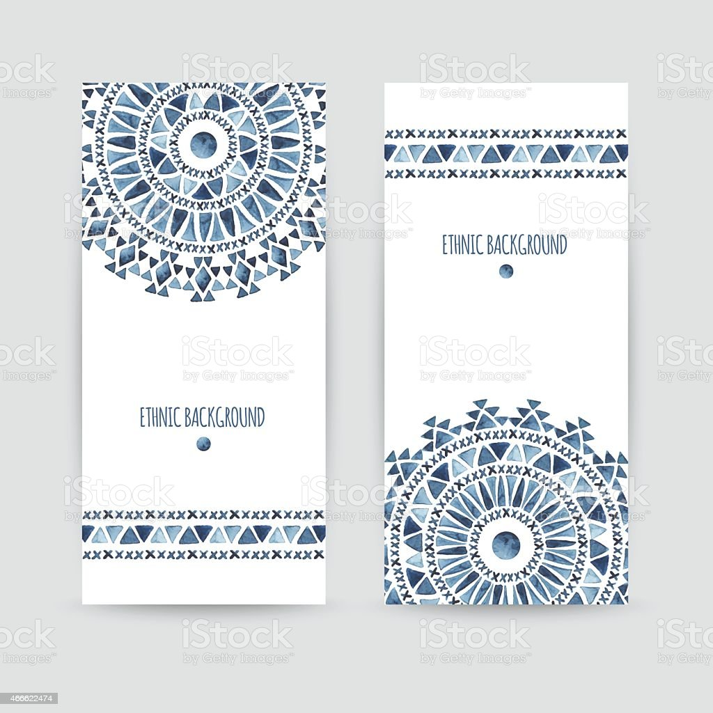 Set of two ethnic banners. vector art illustration