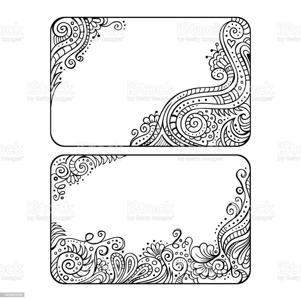 Zestaw Dwoch Kwiatowy Wektor Ramki Ozdobne Stockowe Grafiki