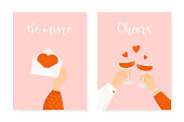 Set of two Happy St. Valentine's day posters. Romantic greeting cards for 14 February celebration. Man and woman holding wine glasses. Woman hand holding love letter.