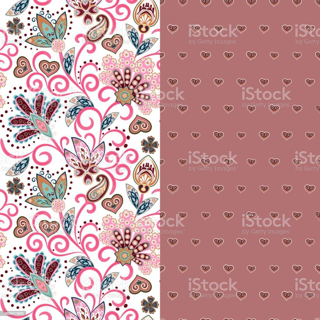 05f05cf016b125 Satz von zwei horizontalen nahtlose Blumenmuster mit Paisley und  Fantasie-Blumen-Bordüre. Handgezeichnete