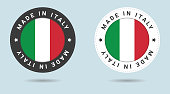 Set of two Italian stickers. Made in Italy. Simple icons with flags.