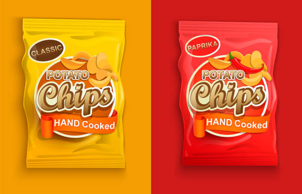 satz von zwei verpackungen mit chips. - farbchips stock-grafiken, -clipart, -cartoons und -symbole