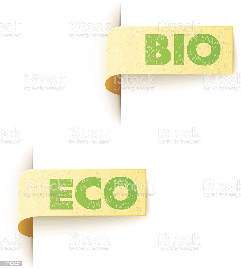 set of two paper labels eco design with text royalty-free set of two paper labels eco design with text stock vector art & more images of brown