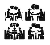 Set of two people at the table icon. Flat design. Vector illustration. Isolated on white background
