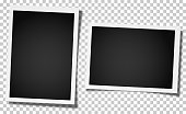 istock Set of two retro realistic vector photo frames, vertical and horizontal, placed on transparent background. Template photo design. 950760868