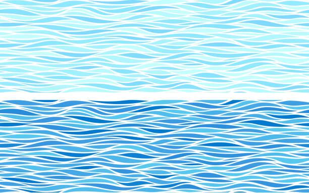 zestaw dwóch bezszwowych wzorów z niebieskimi falami - fala woda stock illustrations
