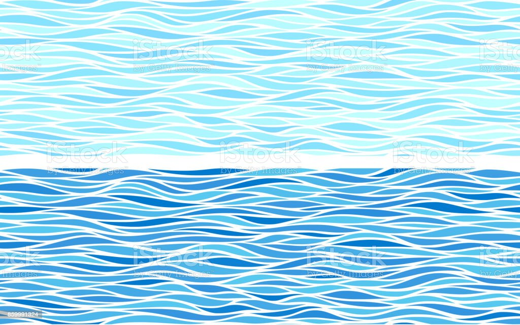 Set of two seamless patterns with blue waves vector art illustration