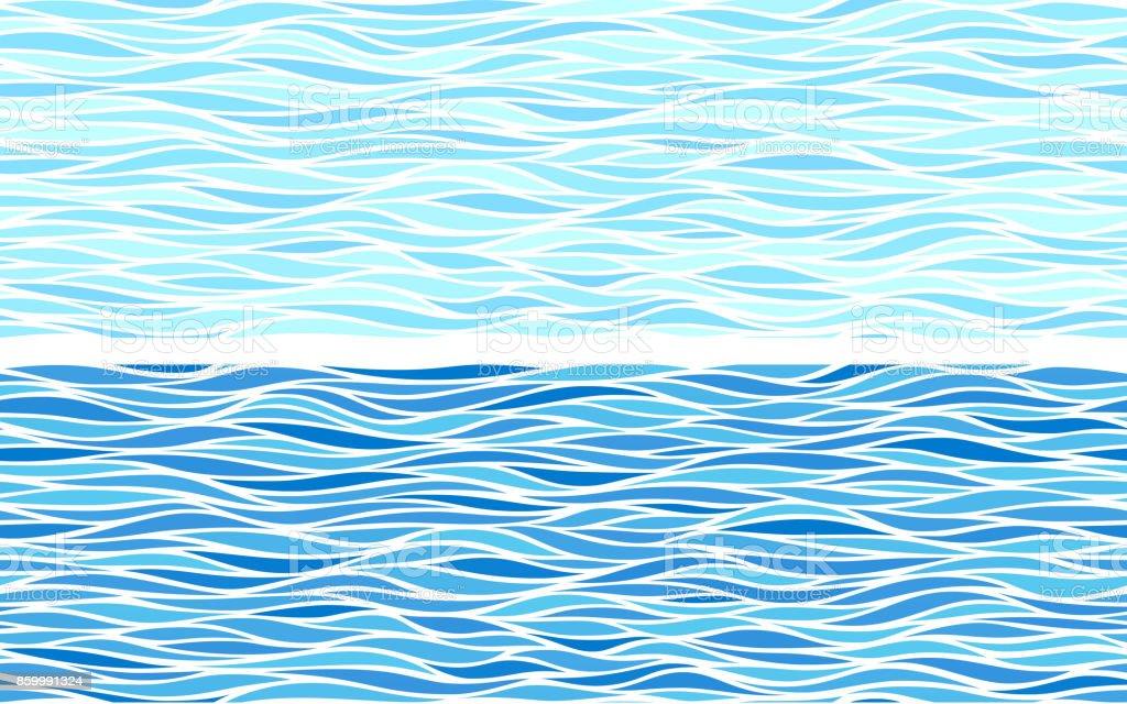 Conjunto de dois padrões sem emenda com ondas azuis - ilustração de arte em vetor