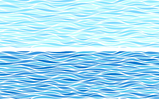 Uppsättning Av Två Sömlösa Mönster Med Blå Vågor-vektorgrafik och fler bilder på Abstrakt