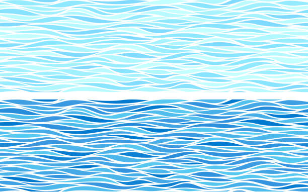 set of two seamless patterns with blue waves - море stock illustrations