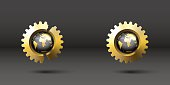 set of two surround globe in realistic broken golden gear