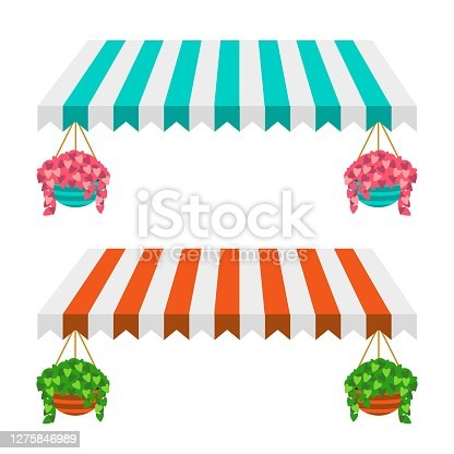Turquoise and white canopy with pink flowers suspended in a pot. Orange and white canopy with green plants in hanging pots. Vector illustration. For advertising, menu decoration, and illustrations.