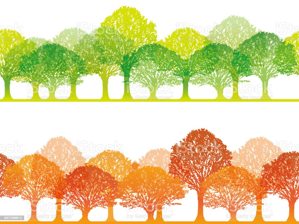 2 つのベクトルのシームレスな森イラストのセット イラストレーション