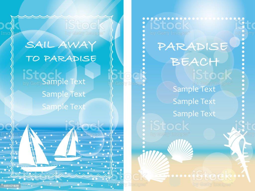 2 つのベクトル夏背景メッセージ フレームのイラストのセット