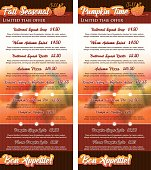 Set of two vertical cards Pumpkin Seasonal Menu 1/3 Letter size.