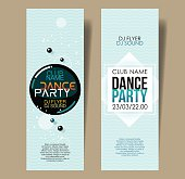 Set of two vertical light blue music party flyers.