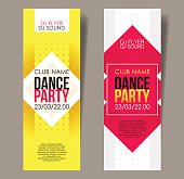 Set of two vertical music party flyers with graphic elements.