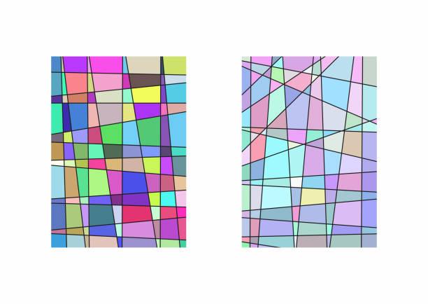 satz von zwei vertikalen vorlagen mit unregelmäßigen linien und bunte fragmente. - mosaikglas stock-grafiken, -clipart, -cartoons und -symbole