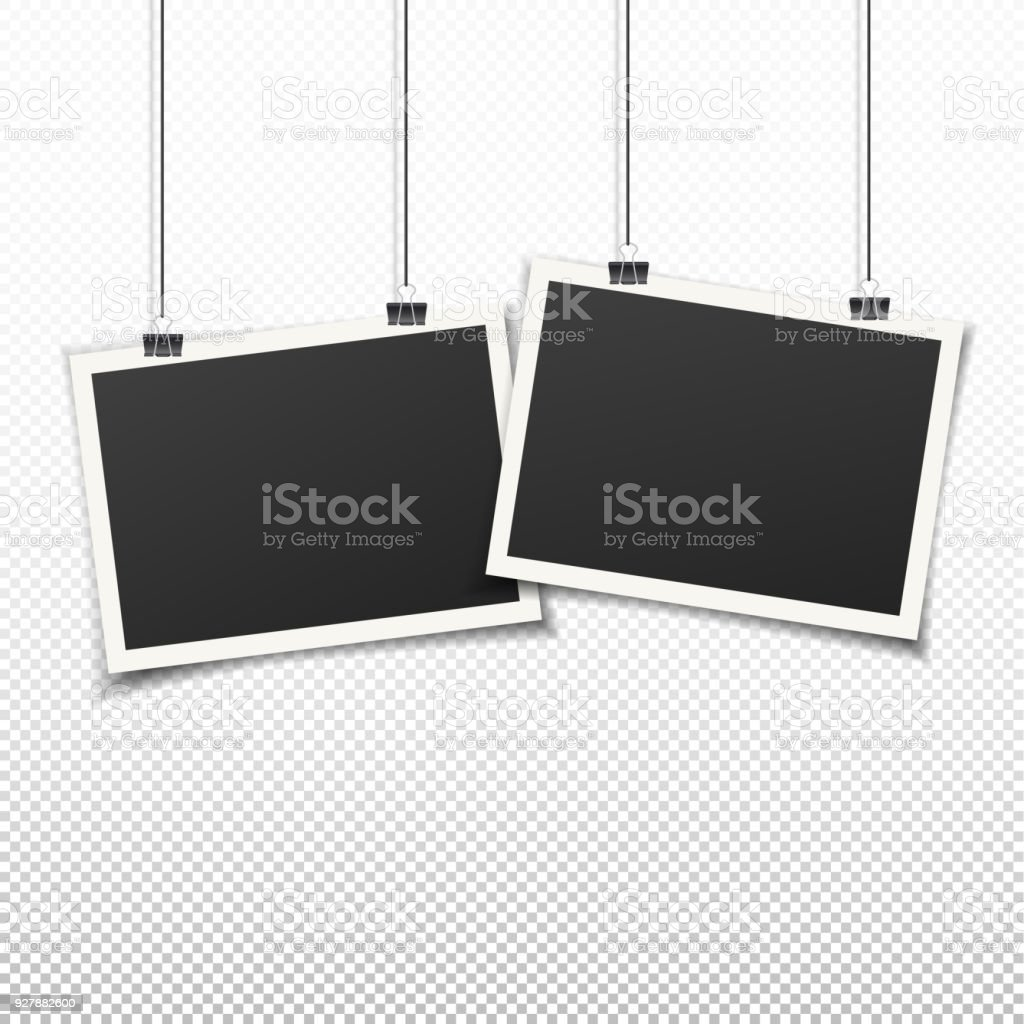 Set Of Two Vintage Photo Frames Hanging On Wall Stock Vector Art