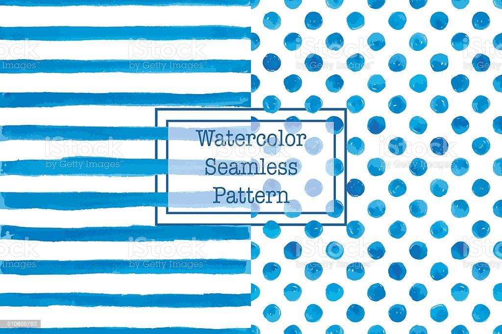 2 つセットの水彩シームレスなパターン、青色。 ベクターアートイラスト