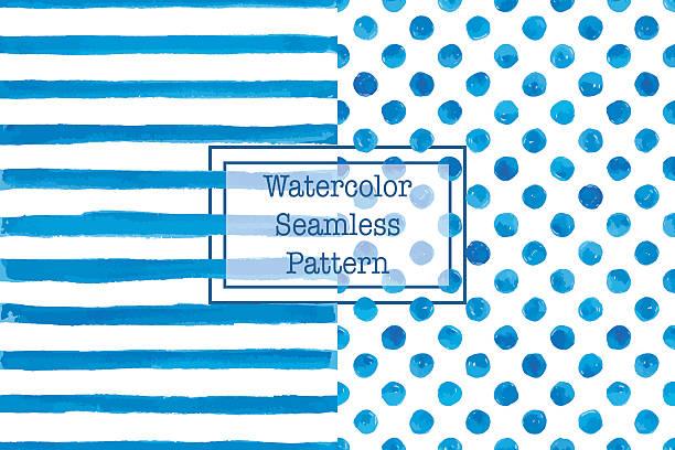 2 つセットの水彩シームレスなパターン、青色。 - 夏点のイラスト素材/クリップアート素材/マンガ素材/アイコン素材