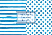 Set of two watercolor seamless patterns, blue color.