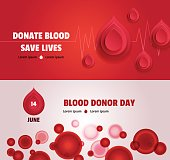 Set of two world blood donor day concept banners