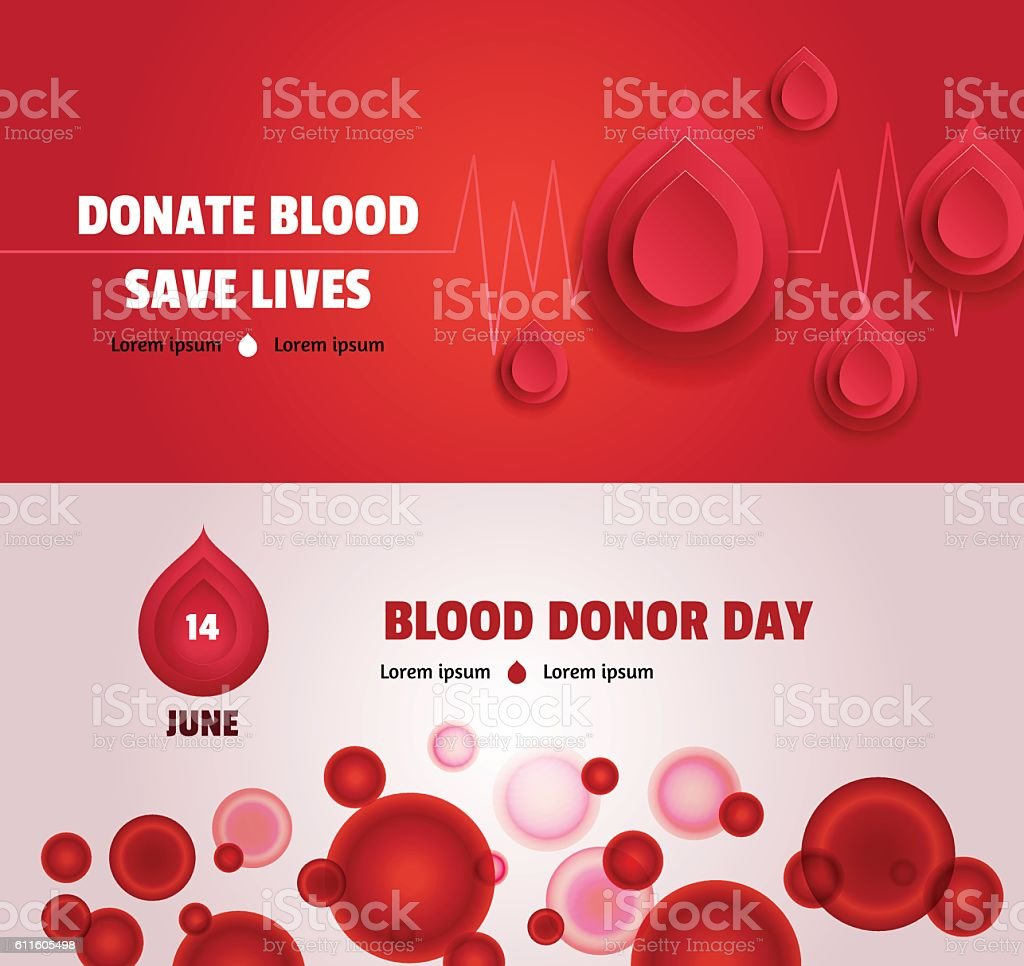 Set of two world blood donor day concept banners vector art illustration