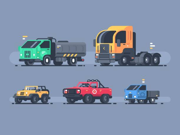 Set of types cars vector art illustration