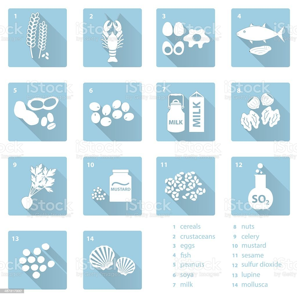 set of typical food alergens and meal flat blue icons vector art illustration