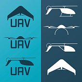 Set of UAV rc model icons