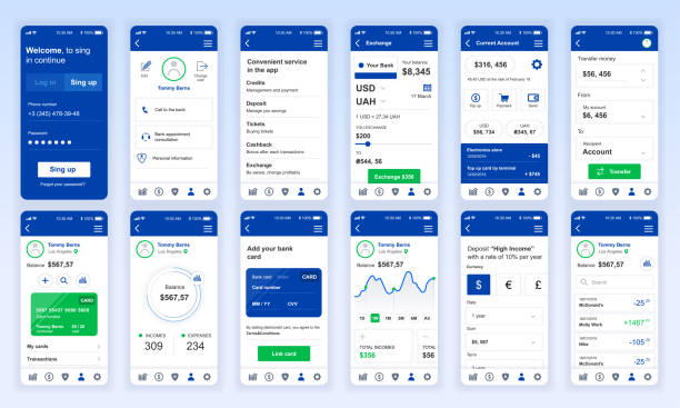 Set of UI, UX, GUI screens Banking app flat design template for mobile apps Set of UI, UX, GUI screens Banking app flat design template for mobile apps, responsive website wireframes. Web design UI kit. Banking Dashboard. banking drawings stock illustrations