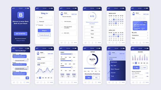 Set Of Ui Ux Gui Screens Banking App Flat Design Template For Mobile Apps - Stockowe grafiki wektorowe i więcej obrazów Aplikacja mobilna